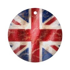 475 Union Jack Flag square and larg Round Ornament