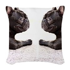 french bulldog flip flops Woven Throw Pillow