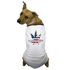 Pot Leaf Flag Dog T-Shirt