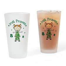 StickFigureGirlIrishPrincess Drinking Glass