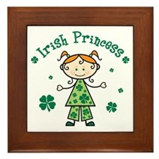 StickFigureGirlIrishPrincess Framed Tile