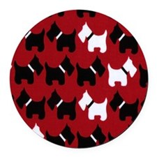 Scottie Dogs Red Round Car Magnet