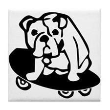 Skateboarding Bulldog Tile Coaster