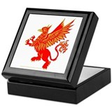 Gryphon Red Gold Keepsake Box