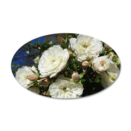 White Roses in Blue Sky 35x21 Oval Wall Decal