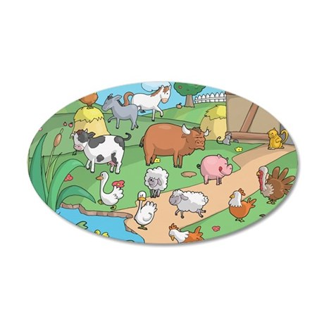 Farm Animals 35x21 Oval Wall Decal