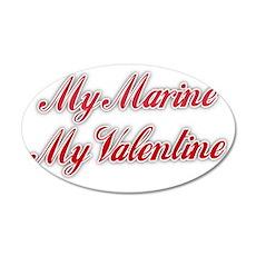 My Marine My Valentine 35x21 Oval Wall Decal