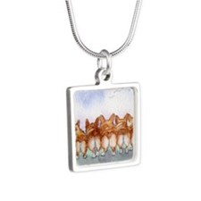 Five walk away together sq Silver Square Necklace