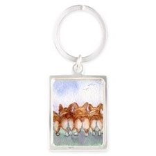 Five walk away together square s Portrait Keychain