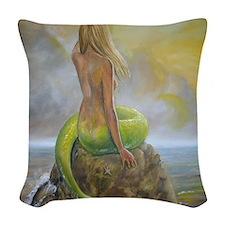 mermaids perch Woven Throw Pillow
