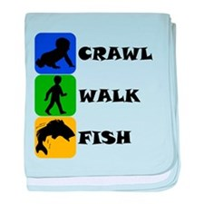 Crawl Walk Fish baby blanket
