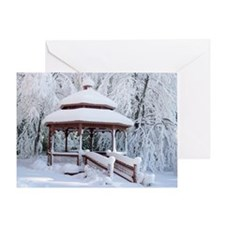 Gazebo surround by snow 9 Greeting Card
