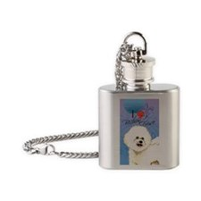 bichon-oval key Flask Necklace