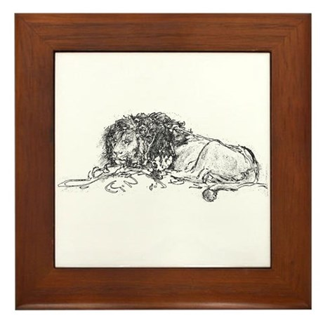 Lion Sketch Framed Tile