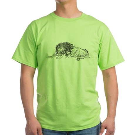 Lion Sketch Green T-Shirt