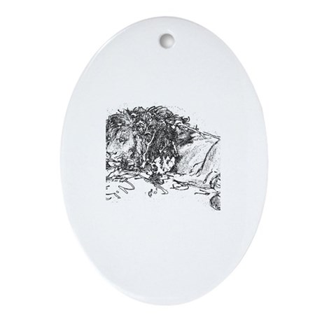 Lion Sketch Oval Ornament