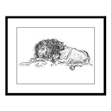 Lion Sketch Large Framed Print