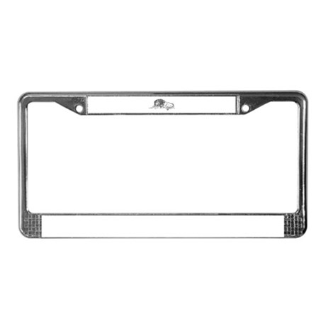 Lion Sketch License Plate Frame