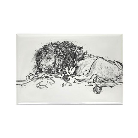 Lion Sketch Rectangle Magnet (100 pack)