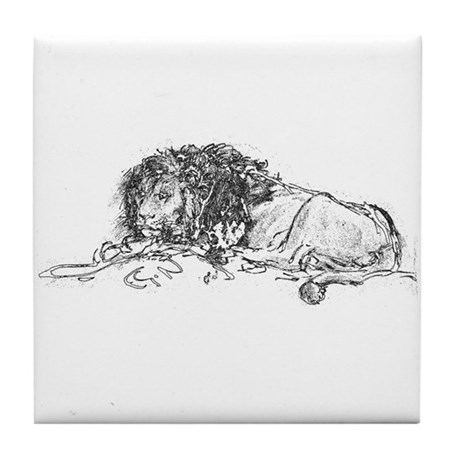 Lion Sketch Tile Coaster