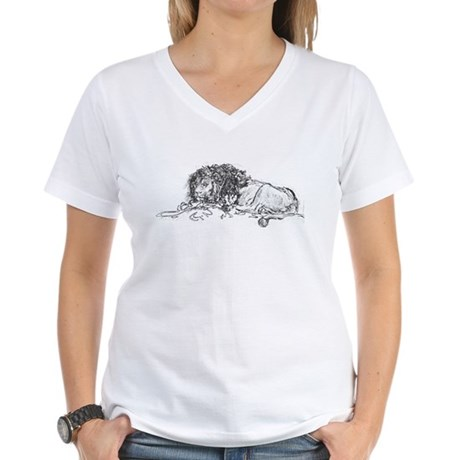 Lion Sketch Women's V-Neck T-Shirt