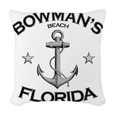 BOWMANS BEACH FLORIDA copy Woven Throw Pillow