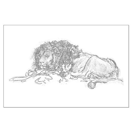 Lion Sketch Large Poster