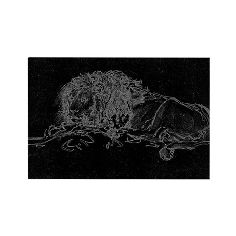 Lion Sketch Rectangle Magnet