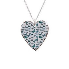 Teal Butterfly Card Necklace