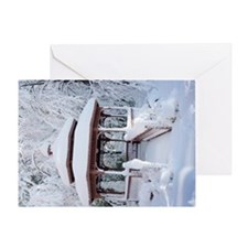 Gazebo surround by snow 4 Greeting Card
