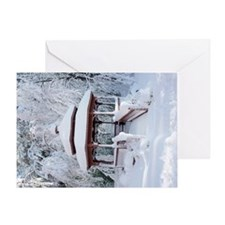 Gazebo surround by snow 2 Greeting Card