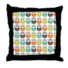 owlsinarow_pattern_mm_ipad Throw Pillow