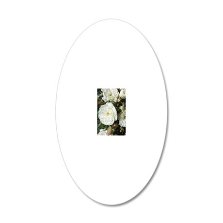 Yummy White Roses 20x12 Oval Wall Decal
