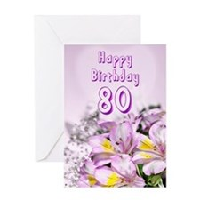 80th Birthday card with alstromeria lily flowers G