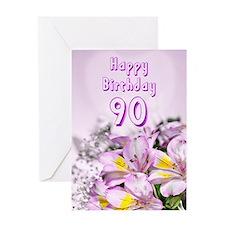 90th Birthday card with alstromeria lily flowers G