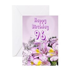 96th Birthday card with alstromeria lily flowers G