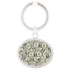 july11_many_dollars Oval Keychain