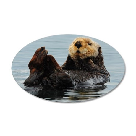 115x9_calender_otter_10 35x21 Oval Wall Decal