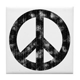 Distressed Peace Sign Tile Coaster