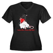 ratheartblkh Women's Plus Size Dark V-Neck T-Shirt