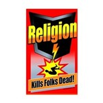 Religion: Kills Folks Dead! Rectangle Sticker