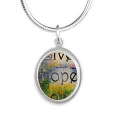 livehopelove-greetingcard Silver Oval Necklace