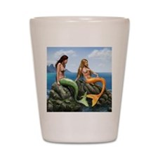 pensive mermaids on rocks shells Shot Glass