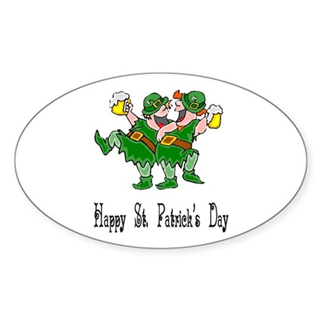 Leprechaun Dance Oval Sticker