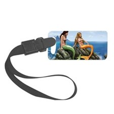 pensive mermaids on rocks for po Luggage Tag