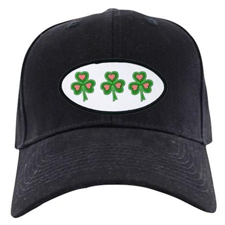 Pink Hearts Shamrock Black Cap