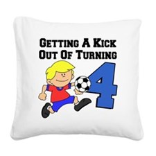 Soccer Boy Turning 4 Square Canvas Pillow