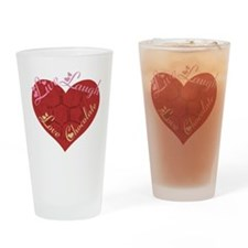 Love_chocolateshirt_vertical copy Drinking Glass