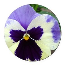 Lavender and Purple Pansy Face Round Car Magnet