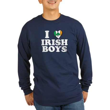 I Love Irish Boys Heart Long Sleeve Dark T-Shirt